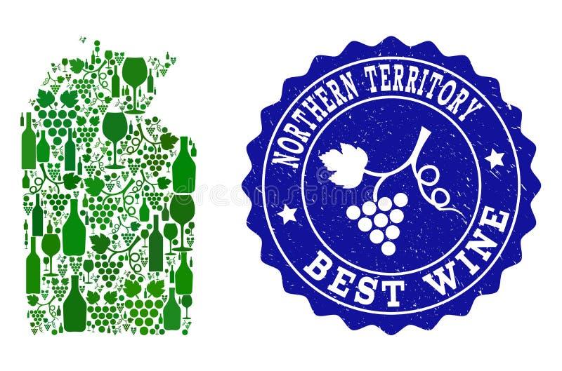 Collage der Trauben-Wein-Karte von australischem Nordterritorium und von bester Wein-Schmutz-Robbe vektor abbildung