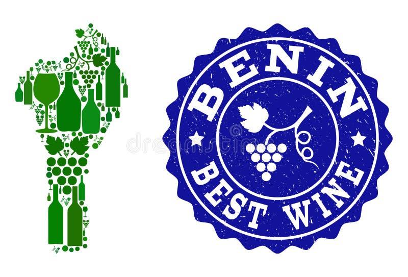 Collage der Trauben-Wein-Karte von Benin und von bestem Wein-Schmutz-Wasserzeichen stock abbildung