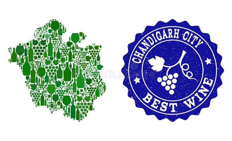 Collage der Trauben-Wein-Karte von Chandigarh-Stadt und von bestem Wein-Schmutz-Stempel stock abbildung