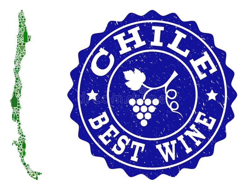 Collage der Trauben-Wein-Karte von Chile und von bestem Wein-Schmutz-Wasserzeichen vektor abbildung