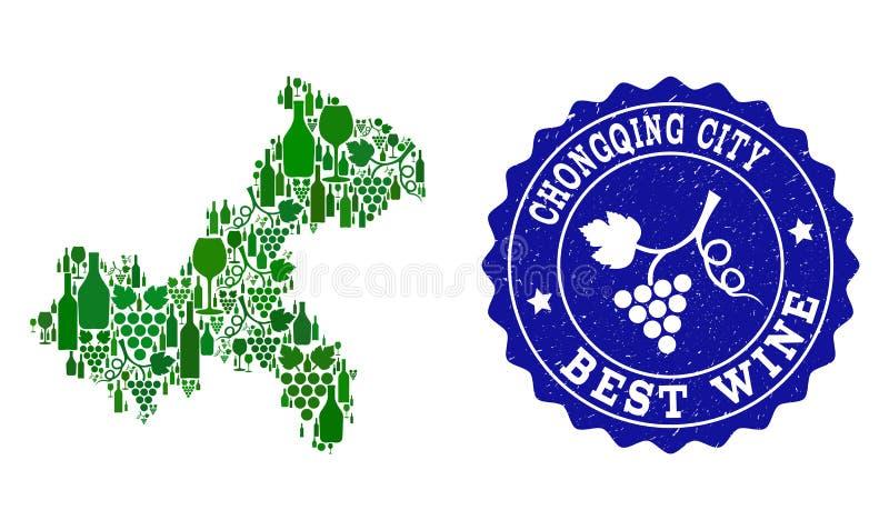 Collage der Trauben-Wein-Karte von Chongqing Municipality und von bester Wein-Schmutz-Robbe stock abbildung