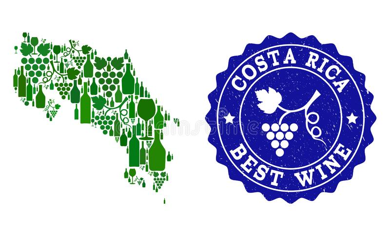 Collage der Trauben-Wein-Karte von Costa Rica und von bestem Wein-Schmutz-Wasserzeichen vektor abbildung