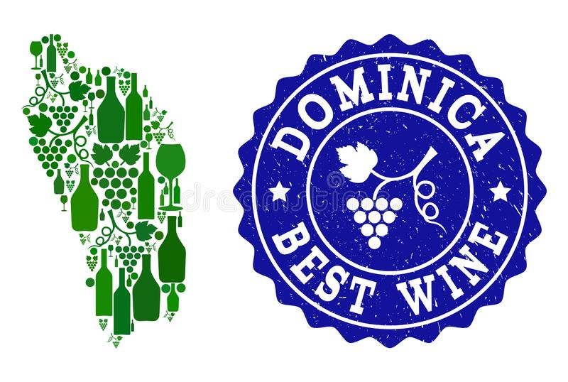 Collage der Trauben-Wein-Karte von Dominica Island und von bestem Wein-Schmutz-Wasserzeichen stock abbildung