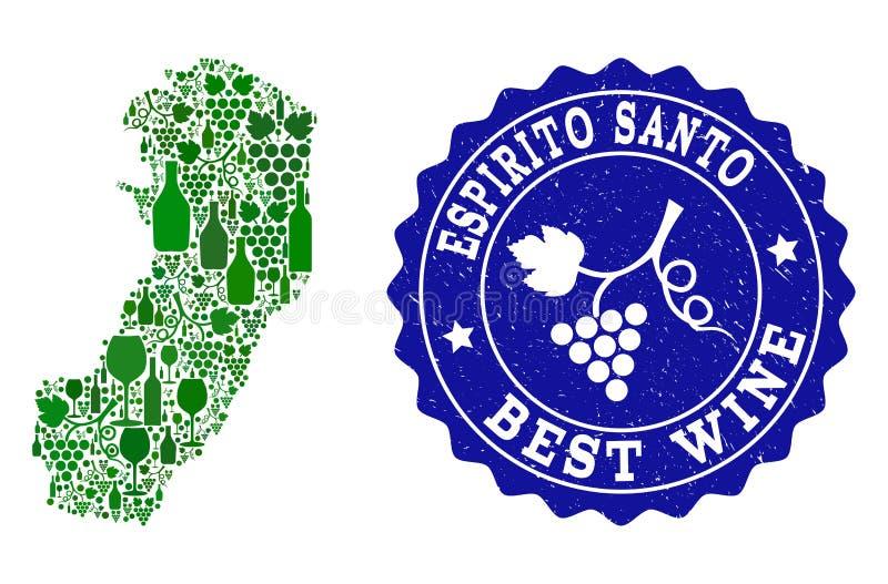 Collage der Trauben-Wein-Karte von Espirito Santo State und bestes Wein-Schmutz-Wasserzeichen stock abbildung