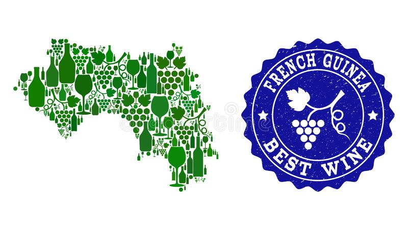 Collage der Trauben-Wein-Karte von Französisch-Guinea und von bestem Wein-Schmutz-Wasserzeichen stock abbildung