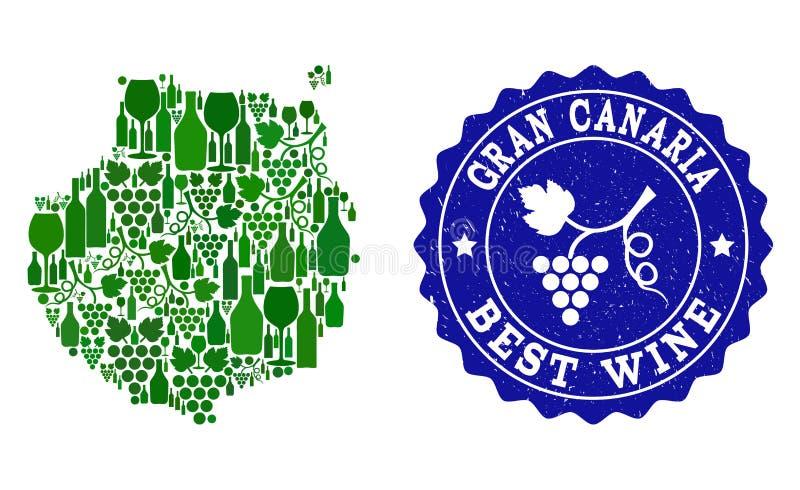 Collage der Trauben-Wein-Karte von Gran Canaria und von bester Wein-Schmutz-Robbe lizenzfreie abbildung