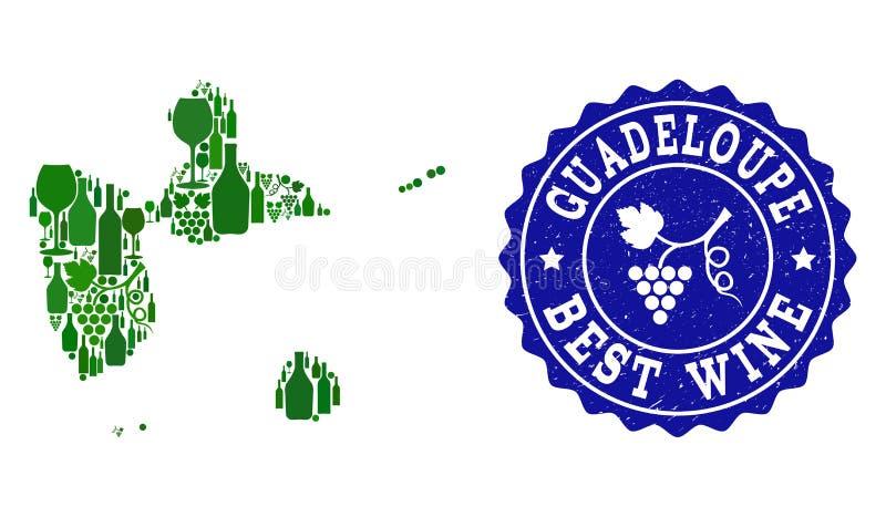Collage der Trauben-Wein-Karte von Guadeloupe und von bestem Wein-Schmutz-Wasserzeichen lizenzfreie abbildung