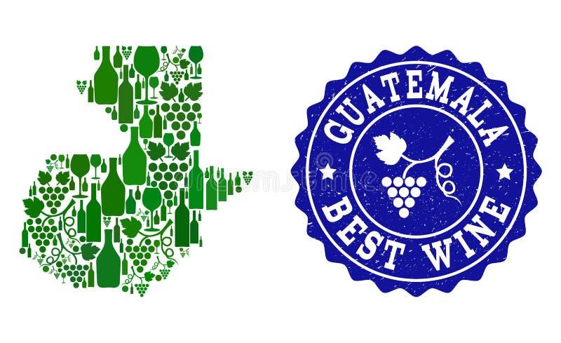 Collage der Trauben-Wein-Karte von Guatemala und von bestem Wein-Schmutz-Wasserzeichen stock abbildung