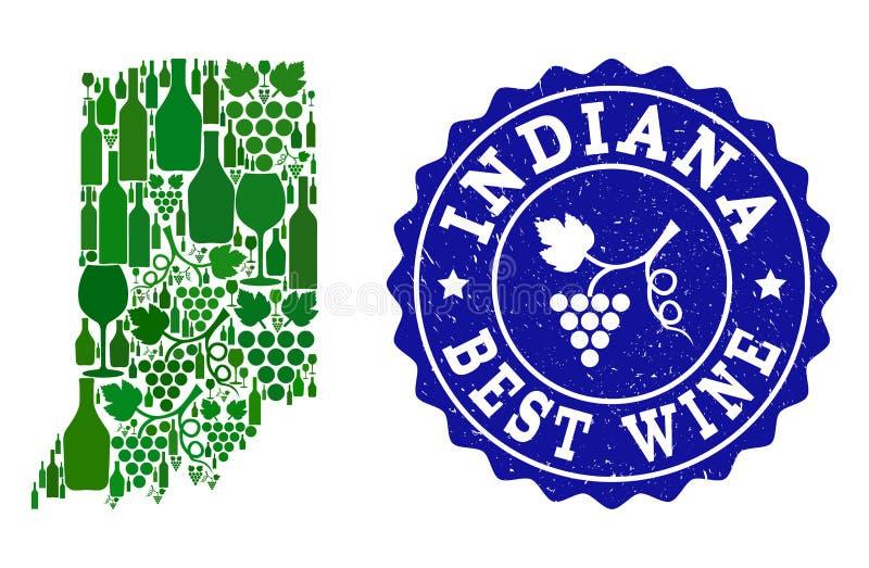 Collage der Trauben-Wein-Karte von Indiana State und von bestem Wein-Schmutz-Wasserzeichen lizenzfreie abbildung
