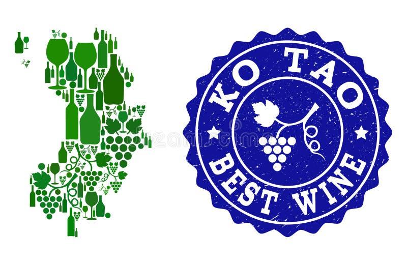 Collage der Trauben-Wein-Karte von Ko Tao und bester Wein-Schmutz-Stempel vektor abbildung