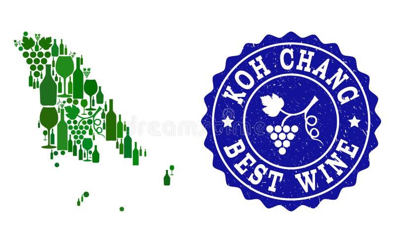 Collage der Trauben-Wein-Karte von Koh Chang und von bestem Wein-Schmutz-Wasserzeichen lizenzfreie abbildung