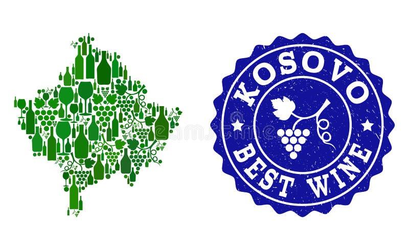 Collage der Trauben-Wein-Karte von Kosovo und von bestem Wein-Schmutz-Wasserzeichen stock abbildung