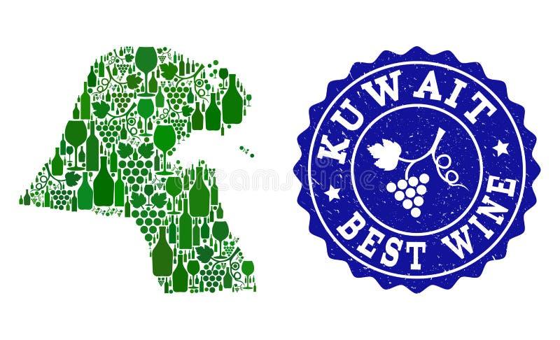 Collage der Trauben-Wein-Karte von Kuwait und von bestem Wein-Schmutz-Wasserzeichen lizenzfreie abbildung