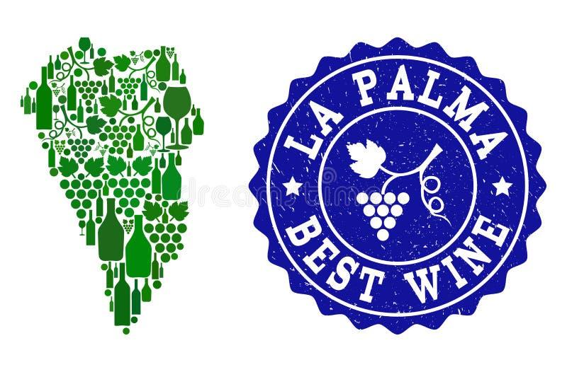 Collage der Trauben-Wein-Karte von La Palma Island und von bestem Wein-Schmutz-Stempel stock abbildung