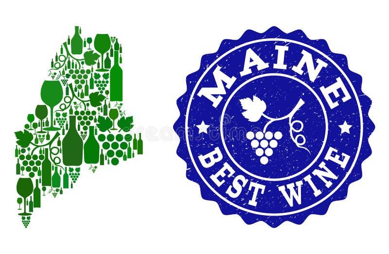 Collage der Trauben-Wein-Karte von Maine State und von bestem Wein-Schmutz-Wasserzeichen vektor abbildung