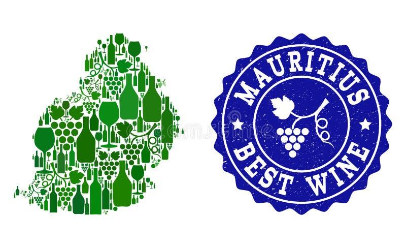 Collage der Trauben-Wein-Karte von Mauritius Island und von bestem Wein-Schmutz-Wasserzeichen lizenzfreie abbildung
