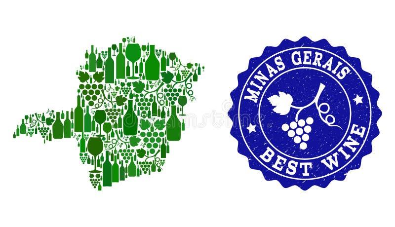Collage der Trauben-Wein-Karte von Minas Gerais State und von bestem Wein-Schmutz-Wasserzeichen lizenzfreie abbildung