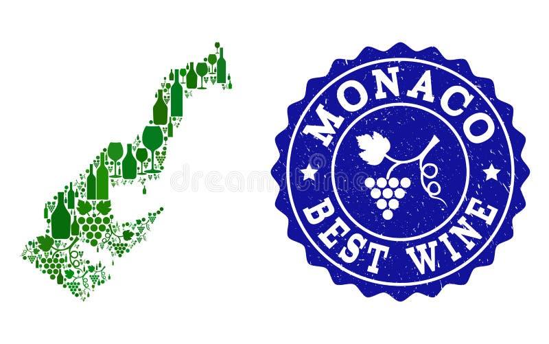 Collage der Trauben-Wein-Karte von Monaco und von bestem Wein-Schmutz-Wasserzeichen stock abbildung