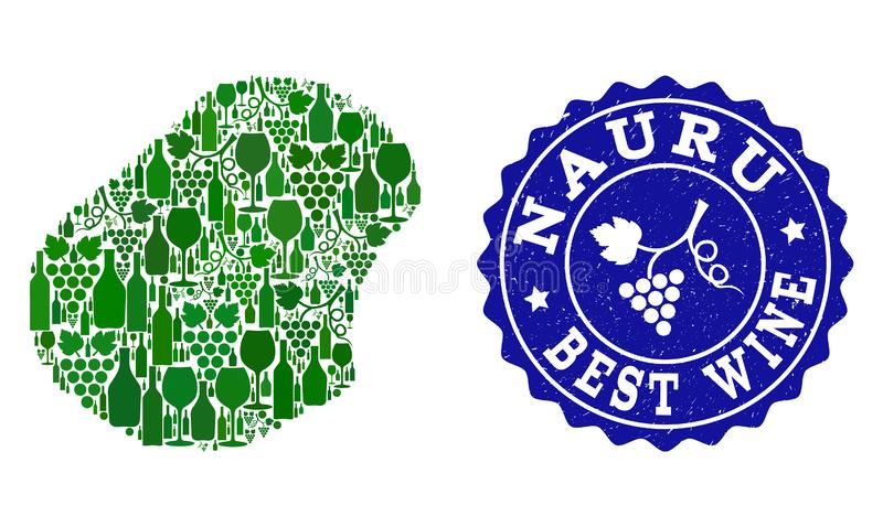 Collage der Trauben-Wein-Karte von Nauru und von bestem Wein-Schmutz-Wasserzeichen stock abbildung