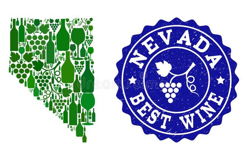 Collage der Trauben-Wein-Karte von Nevada State und von bestem Wein-Schmutz-Wasserzeichen vektor abbildung