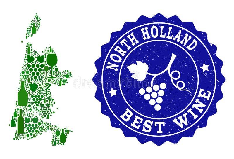 Collage der Trauben-Wein-Karte von Nordholland und von bester Wein-Schmutz-Robbe stock abbildung