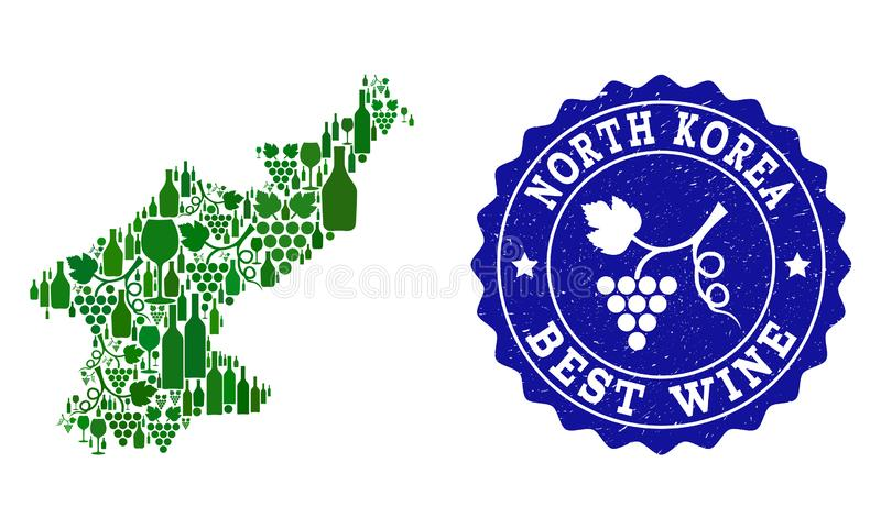Collage der Trauben-Wein-Karte von Nordkorea und von bestem Wein-Schmutz-Wasserzeichen stock abbildung