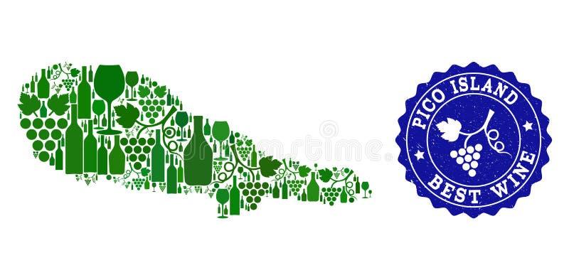 Collage der Trauben-Wein-Karte von Pico Island und von bestem Wein-Schmutz-Wasserzeichen vektor abbildung