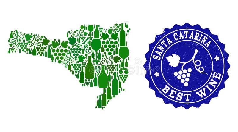 Collage der Trauben-Wein-Karte von Santa Catarina State und von bestem Wein-Schmutz-Wasserzeichen stock abbildung