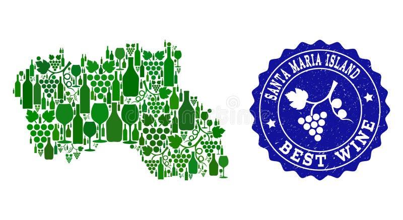 Collage der Trauben-Wein-Karte von Santa Maria Island und von bestem Wein-Schmutz-Stempel lizenzfreie abbildung