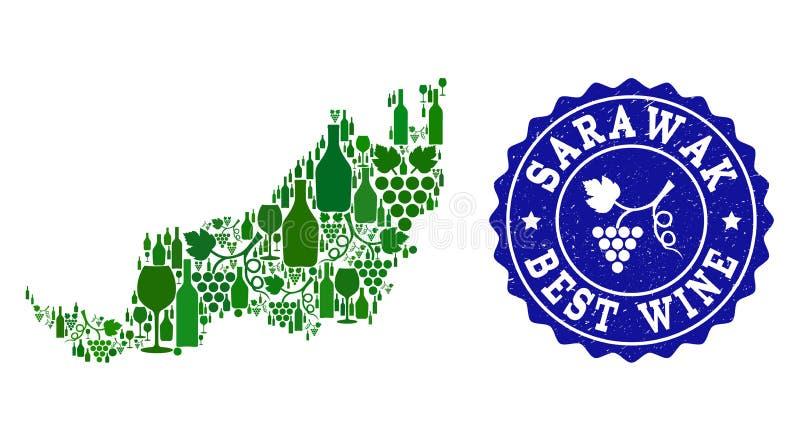 Collage der Trauben-Wein-Karte von Sarawak und von bestem Wein-Schmutz-Wasserzeichen vektor abbildung