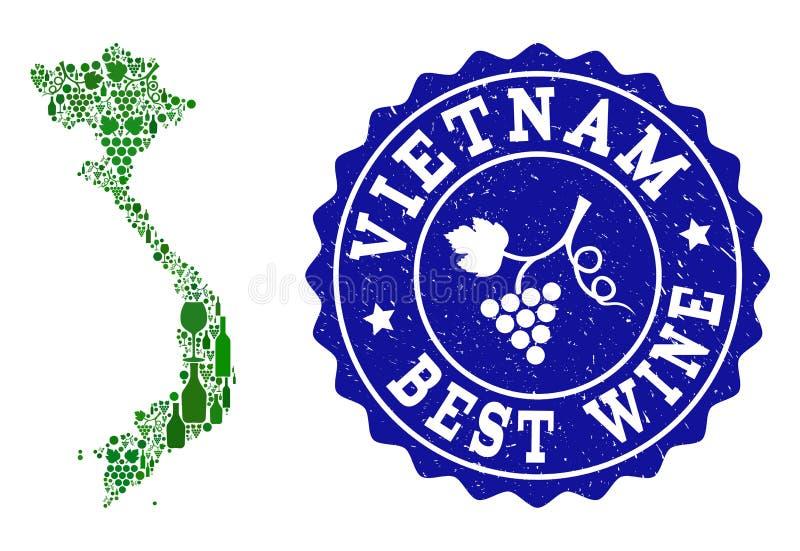 Collage der Trauben-Wein-Karte von Vietnam und von bestem Wein-Schmutz-Wasserzeichen vektor abbildung