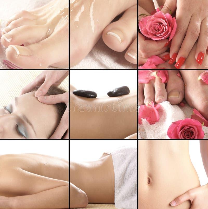Collage der verschiedenen Badekurortbehandlungbilder stockbilder