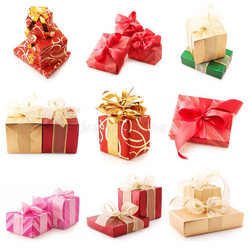Collage der verschiedenen Geschenke stockbilder