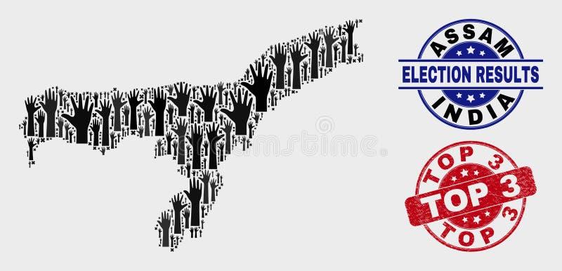 Collage der Wahl-Assam-Staats-Karte und der verkratzten Dichtung der Spitzen-3 lizenzfreie abbildung