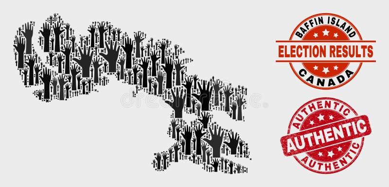 Collage der Wahl-Baffin-Insel-Karte und der Schmutz-authentischen Dichtung vektor abbildung