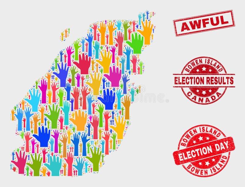 Collage der Wahl-Bowen-Insel-Karte und des verkratzten schrecklichen Wasserzeichens stock abbildung