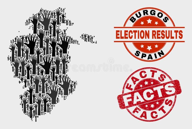 Collage der Wahl-Burgos-Provinz-Karte und der Schmutz-Tatsachen-Dichtung lizenzfreie abbildung