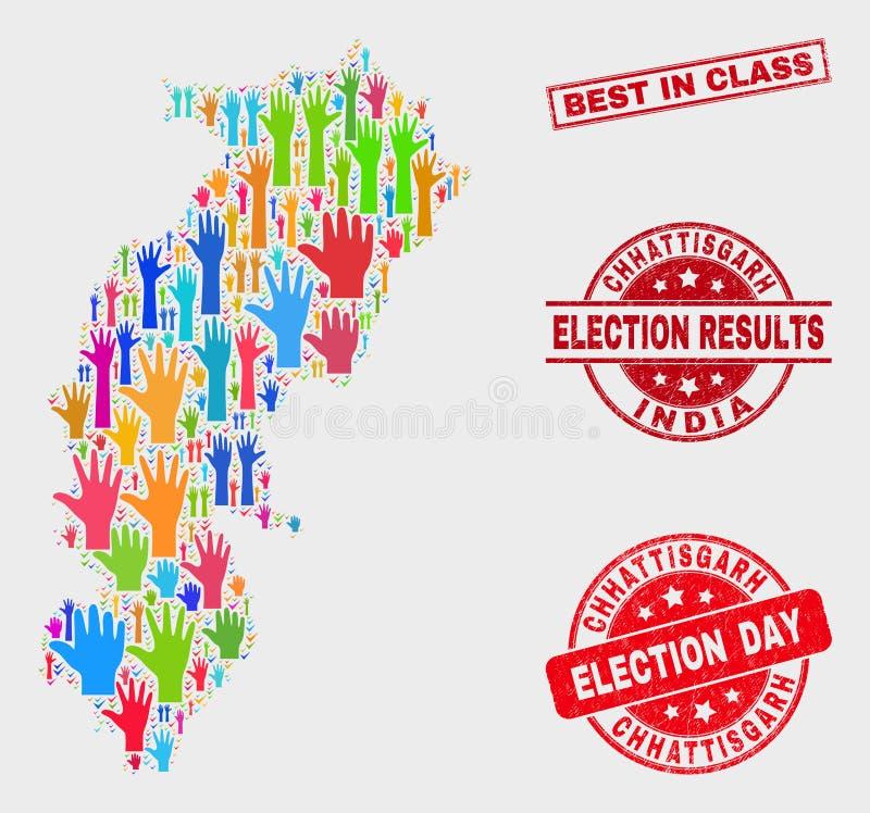 Collage der Wahl Chhattisgarh-Zustands-Karte und des verkratzten Besten im Klassen-Stempelsiegel stock abbildung