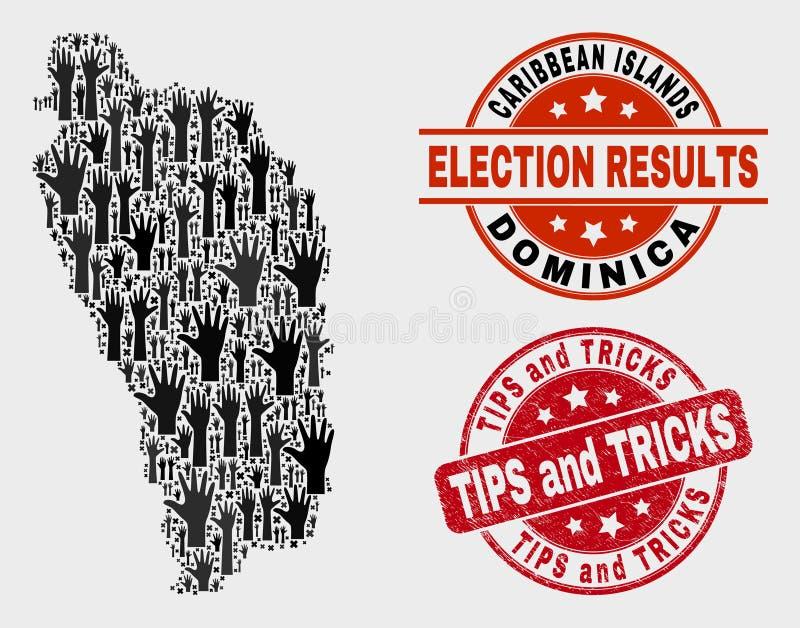 Collage der Wahl Dominica Island Map und der verkratzten Spitzen und des Trick-Stempelsiegels lizenzfreie abbildung