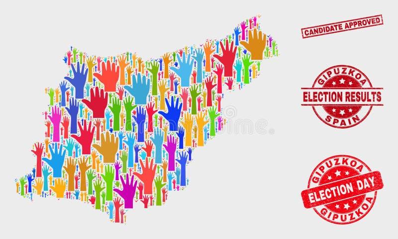 Collage der Wahl-Gipuzkoa-Provinz-Karte und des Bedrängnis-Bewerberanerkannten Stempels vektor abbildung