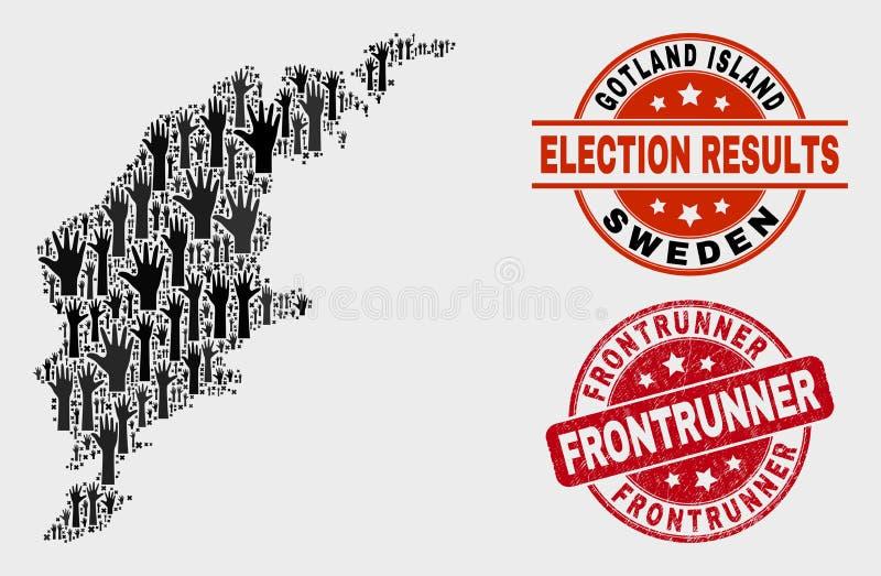 Collage der Wahl-Gotland-Insel-Karte und der Schmutz Frontrunner-Dichtung lizenzfreie abbildung
