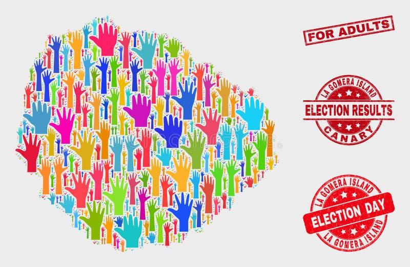 Collage der Wahl-La Gomera-Insel-Karte und der Bedrängnisses für Erwachsen-Wasserzeichen lizenzfreie abbildung
