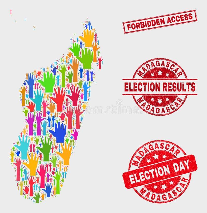 Collage der Wahl-Madagaskar-Insel-Karte und des Schmutz verbotenen Zugangs-Stempelsiegels vektor abbildung