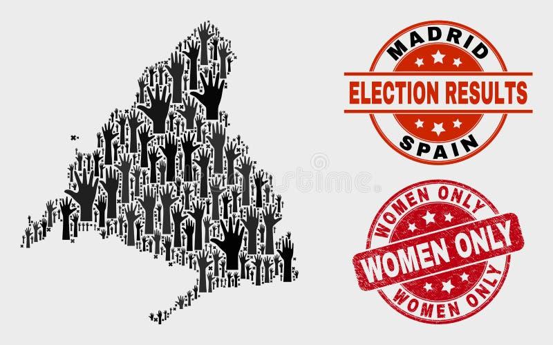 Collage der Wahl-Madrid-Provinz-Karte und des Schmutz-Frauen-nur Stempelsiegels stock abbildung