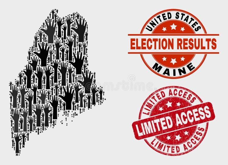 Collage der Wahl Maine State Map und des Bedrängnis-Wasserzeichens mit eingeschränktem Zugriff lizenzfreie abbildung