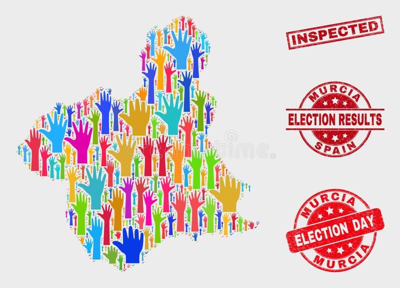 Collage der Wahl-Murcia-Provinz-Karte und der Schmutz kontrollierten Dichtung vektor abbildung