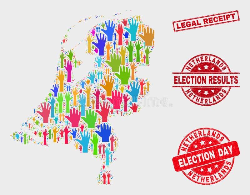 Collage der Wahl-niederländischen Karte und des verkratzten legalen Empfangs-Stempelsiegels vektor abbildung