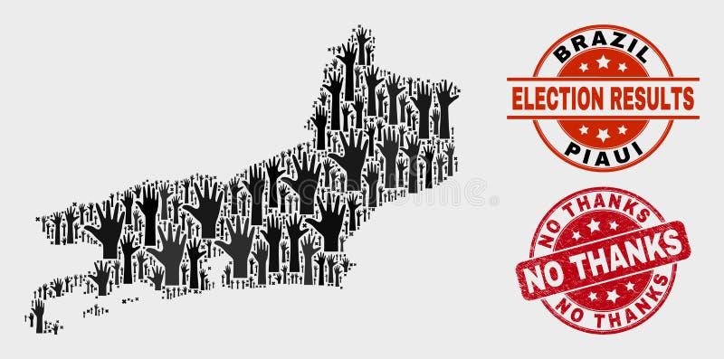 Collage der Wahl Piaui-Zustands-Karte und kein Dank-Stempelsiegel beunruhigen vektor abbildung