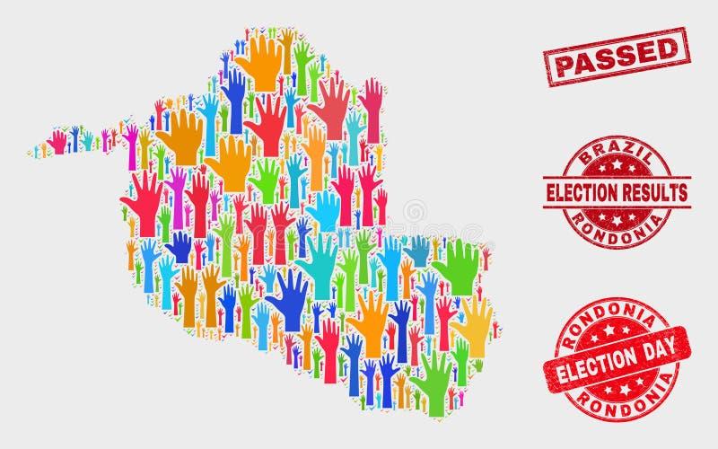 Collage der Wahl Rondonia-Zustands-Karte und geführte Dichtung beunruhigen lizenzfreie abbildung
