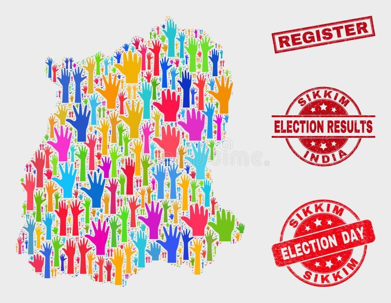 Collage der Wahl-Sikkim-Staats-Karte und der Schmutz-Register-Dichtung stock abbildung